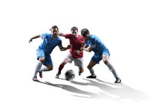 Soccer players in action. Football soccer players in action isolated on white background Royalty Free Stock Photography