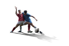 Soccer players in action. Football soccer players in action isolated on white background Royalty Free Stock Photo