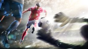 Soccer players in action on the grand stadium background panorama stock photos