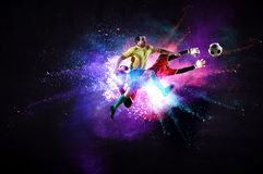 Soccer players in action. Mixed media stock images