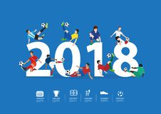 Soccer players in action on 2018 new year. Vector illustration layout template design Royalty Free Stock Photography