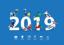 Vector soccer players in action on 2019 new year Stock Illustration