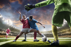 Soccer players in action on sunset stadium background panorama Stock Image