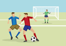 Soccer Players in Action Vector Cartoon Illustration Stock Images