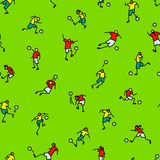 Soccer players with ball  background. Seamless pattern of minima Royalty Free Stock Photography