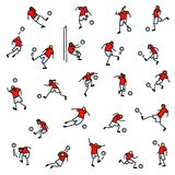 Soccer players with ball  icons set. Collection of minimalistic Royalty Free Stock Photography