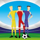 Soccer players with a ball. Soccer players with a ball in the stadium Royalty Free Stock Image