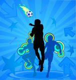 Soccer players on the blue abstract background Royalty Free Stock Image