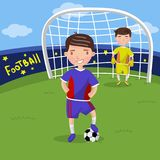 Soccer players, boys playing soccer on the sport field vector illustration. Cartoon style Stock Images