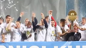 Soccer players celebrate a victory stock footage