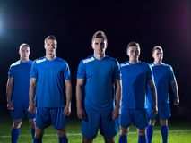 Soccer players celebrating victory Royalty Free Stock Photos