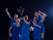Soccer players celebrating victory Royalty Free Stock Photography
