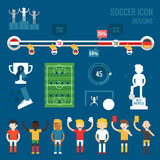Soccer players character and icons. Flat design vector Stock Photography
