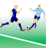 Soccer players duel. Royalty Free Stock Photo