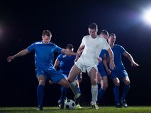 Soccer players duel Royalty Free Stock Image