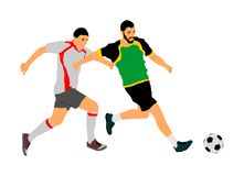 Soccer players in duel vector illustration. Football player battle for the ball and position. Soccer players in duel vector illustration isolated on white vector illustration