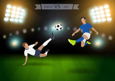 Soccer players england versus Italy Royalty Free Stock Photos