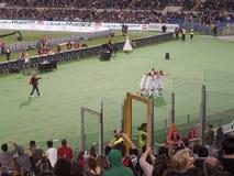 Soccer players exultation goal Stock Images