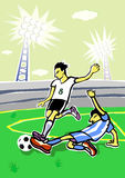 Soccer players fights. Royalty Free Stock Images