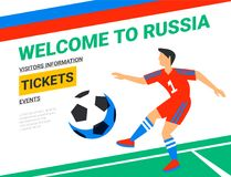 Soccer players with football ball. Welcome to Russia web banner template. Fool color illustration in flat style. Football players in Russia football cup Stock Photography