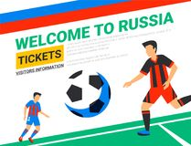 Soccer players with football ball. Welcome to Russia web banner template. Fool color illustration in flat style. Football players in Russia football cup Royalty Free Stock Photos