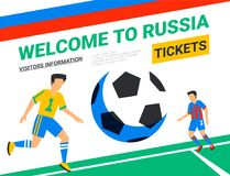 Soccer players with football ball. Welcome to Russia web banner template. Fool color illustration in flat style. Football players in Russia football cup Stock Photo