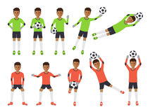 Soccer players, football goalkeeper in actions Royalty Free Stock Image