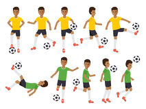 Soccer players, football sport athletes in actions Royalty Free Stock Photos