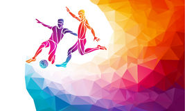 Soccer players. Footballers kicks the ball in trendy abstract colorful polygon style with rainbow back vector illustration