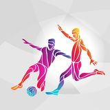 Soccer players. Footballers kicks the ball in trendy abstract colorful style. Creative soccer players. Football players kicks the ball, colorful vector Royalty Free Stock Image