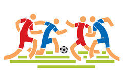 Soccer players. Four Soccer players. Abstract stylized vector illustration Royalty Free Stock Images