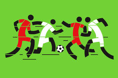 Soccer players. Four Soccer players on the green background. Abstract stylized vector illustration Stock Photography