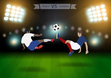 Soccer players france versus honduras. Two football players in jump to strike the ball at the stadium, Soccer players france versus honduras, Brazil 2014 group E Stock Photos