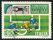 Soccer players and goal. ITALY - CIRCA 1973: stamp printed by Italy, shows Soccer players and goal, circa 1973 Royalty Free Stock Photography