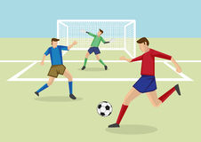 Soccer Players and Goalkeeper in Soccer Field Vector Cartoon Ill Stock Images