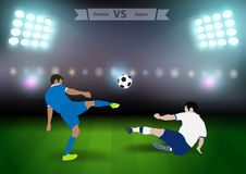 Soccer players greece versus japan Royalty Free Stock Photography