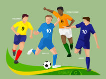Soccer Players 2014 Group C Stock Photography