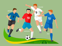 Soccer Players 2014 Group D Royalty Free Stock Photography