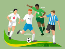 Soccer Players 2014 Group F Royalty Free Stock Photos