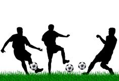 Soccer players illustration. Black silhouettes of three soccer players on green grass, isolated on white background Stock Image