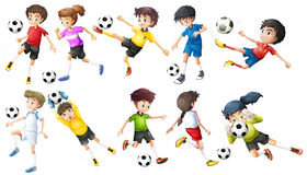 Soccer players. Illustration of the soccer players on a white background Royalty Free Stock Photo