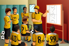Soccer players in locker room. A vector illustration of soccer players in locker room listening to coach talking Stock Images