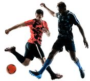 Soccer players men isolated silhouette white background Royalty Free Stock Photos