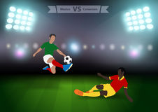 Soccer players mexico versus cameroon Stock Photo