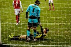 Soccer players in net