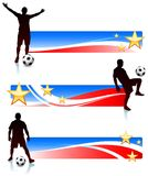 Soccer Players with Patriotic Banners Royalty Free Stock Photos
