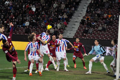 Soccer players playing football Stock Photos