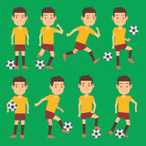 Soccer players poses vector set green field. Activity football players with ball illustration Royalty Free Stock Images