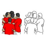 Soccer players in red jersey shirts celebrating after goal vecto. R illustration sketch doodle hand drawn with black lines isolated on white background Royalty Free Stock Images