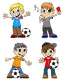 Soccer players and referee Royalty Free Stock Photo